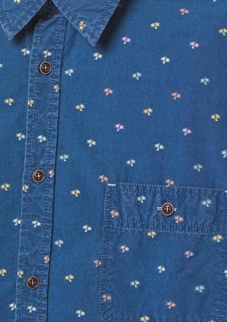 Palma Embroidered Indigo Shirt