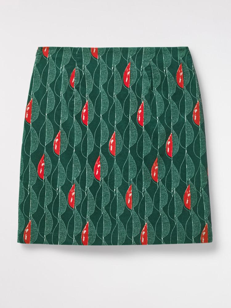 Trailing Leaves Velvet Skirt