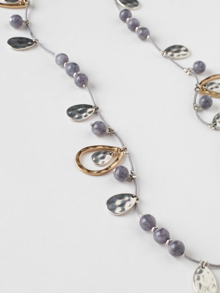 Stone & Tear Drop Necklace