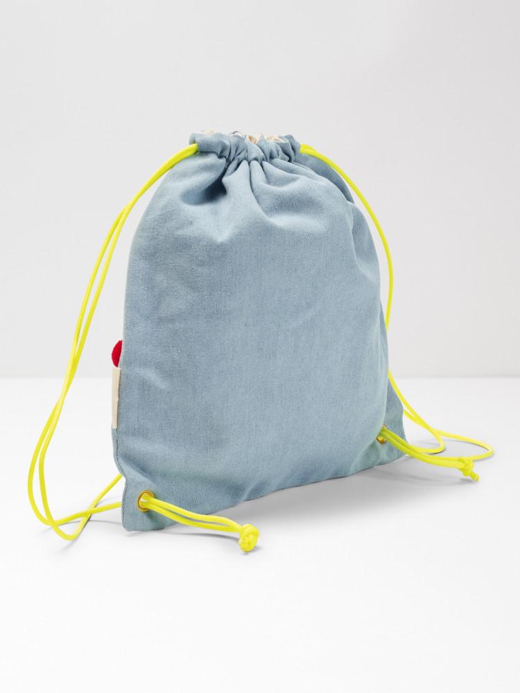 Chambray Pom Pom Backpack