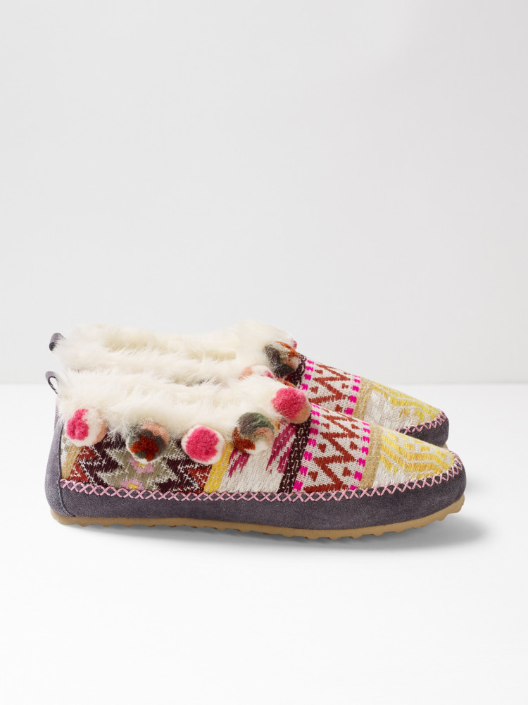 Fluro suede slipper