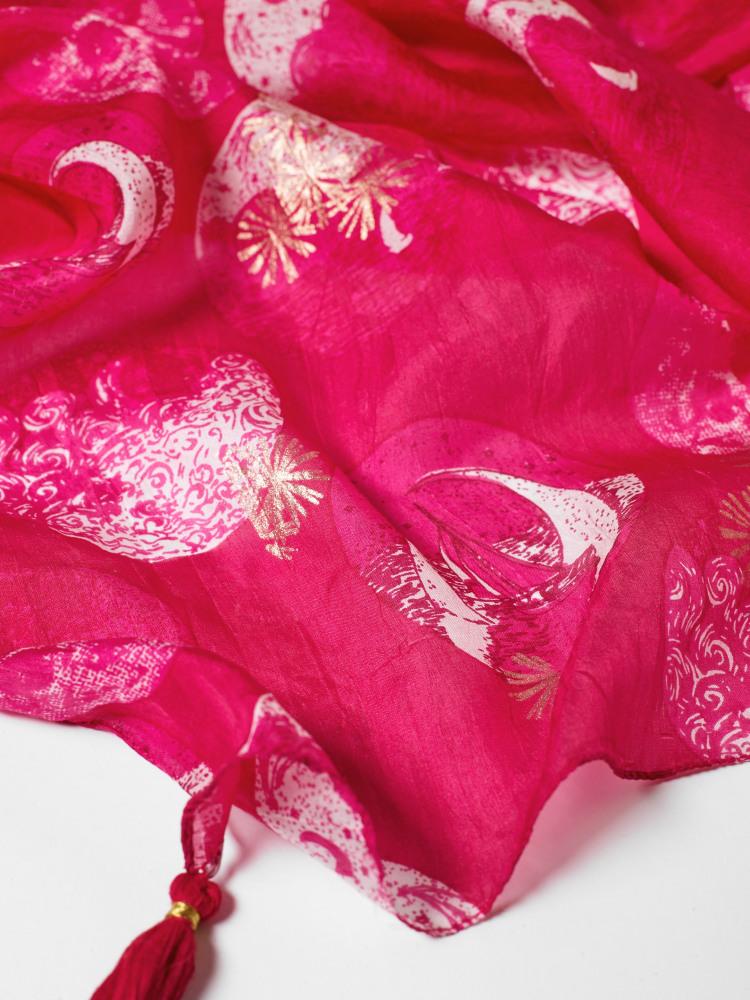 Planetary Foil Silk Scarf