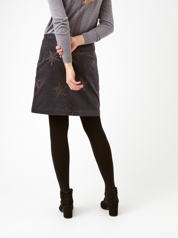Star Cloud Emb Velvet Skirt