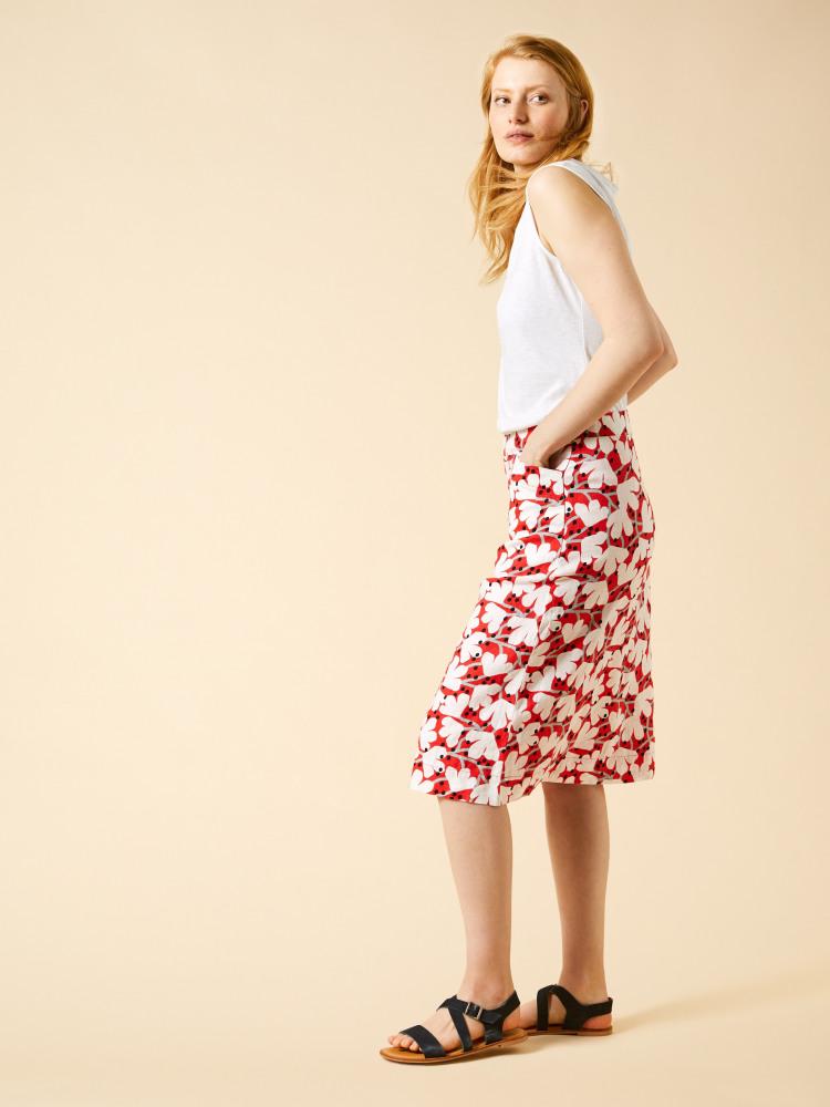 Elsie Printed Linen Skirt