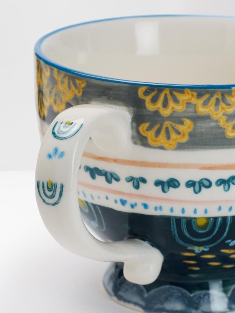 Grey Scallop Decorative Mug