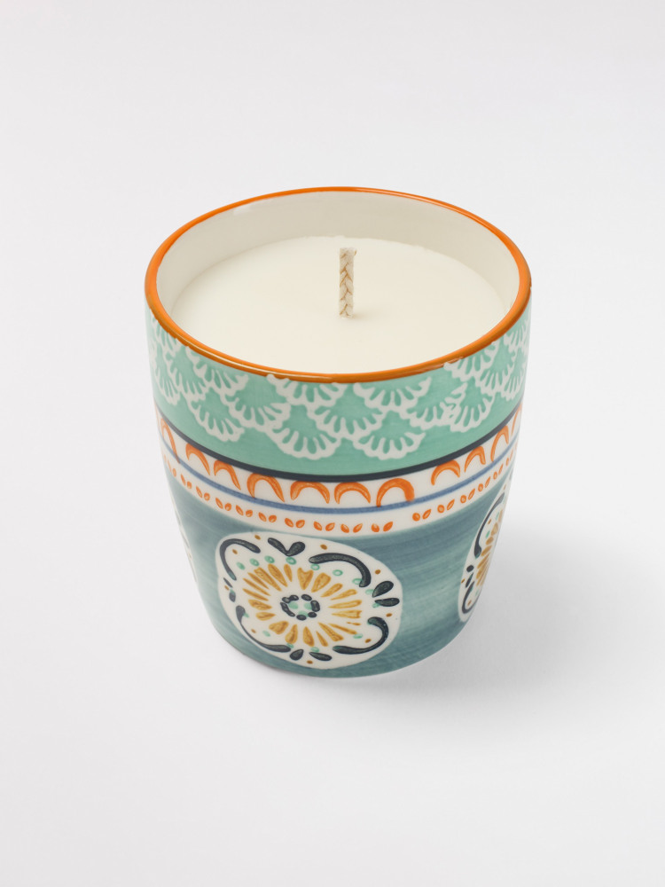 Grey Doily Decorative Candle