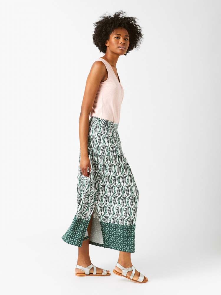 Floral Leaf Maxi Skirt