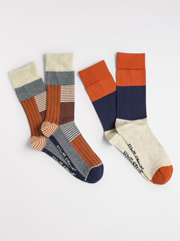 Ribbed Patchwork Sock 2 pack