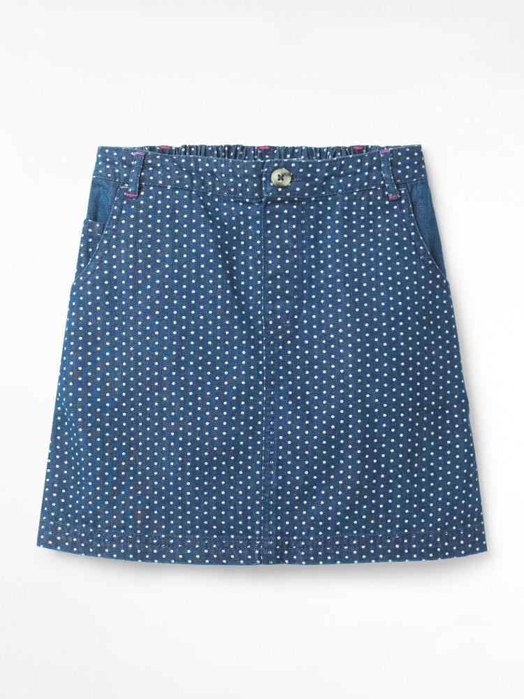 Spot Dot Denim Skirt