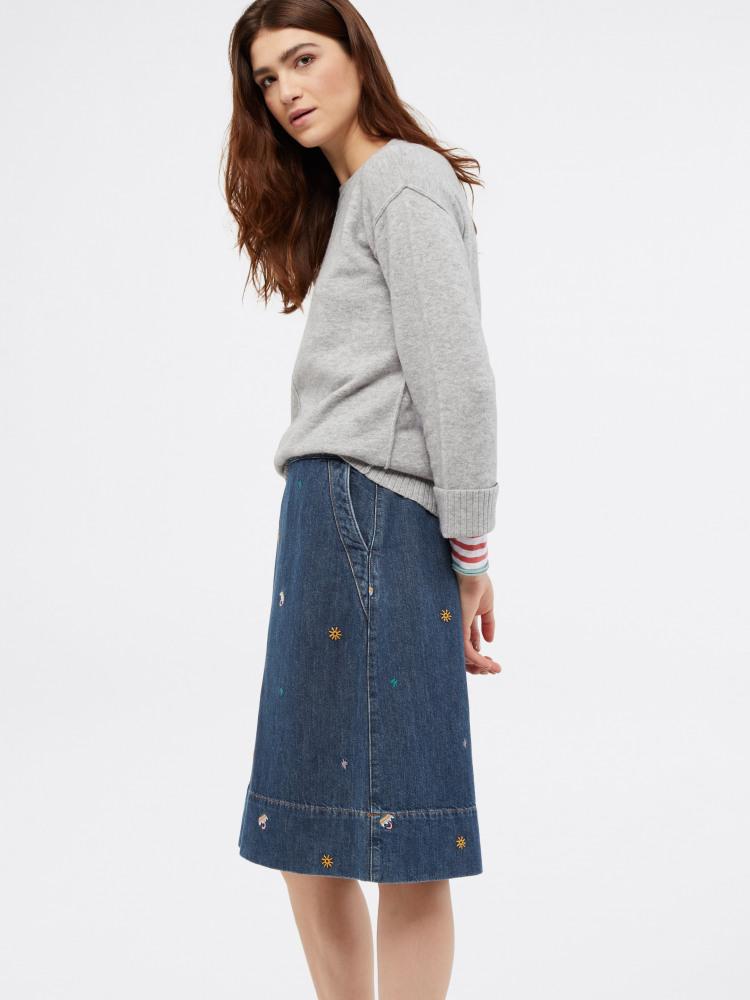 NEW White Stuff Cute Embroidered Rain or Shine Blue Denim Skirt RRP £55 Save £29