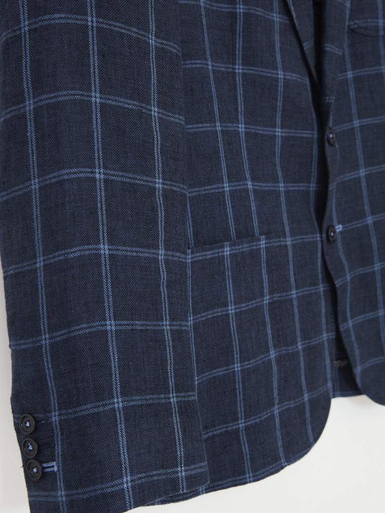 St Edmunds Check Linen Blazer