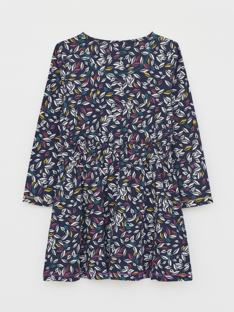 Scattered Leaves Jersey Dress