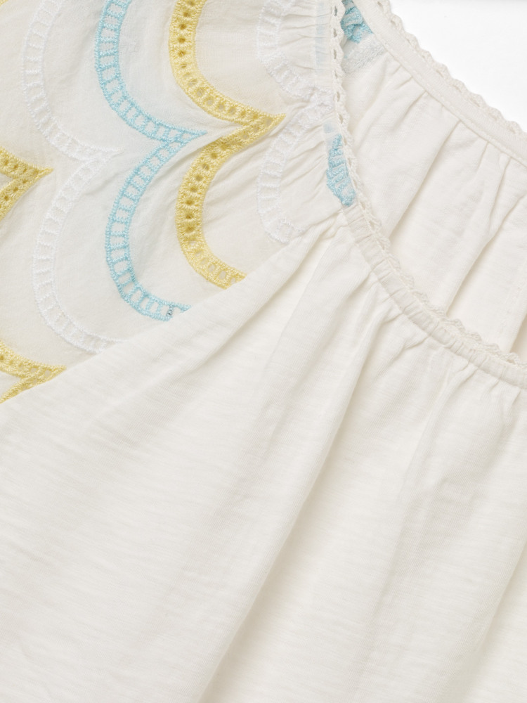 Tea House Embroidered Jersey Top