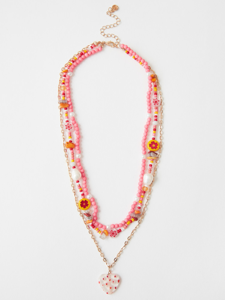 Layered Flower Bead Necklace
