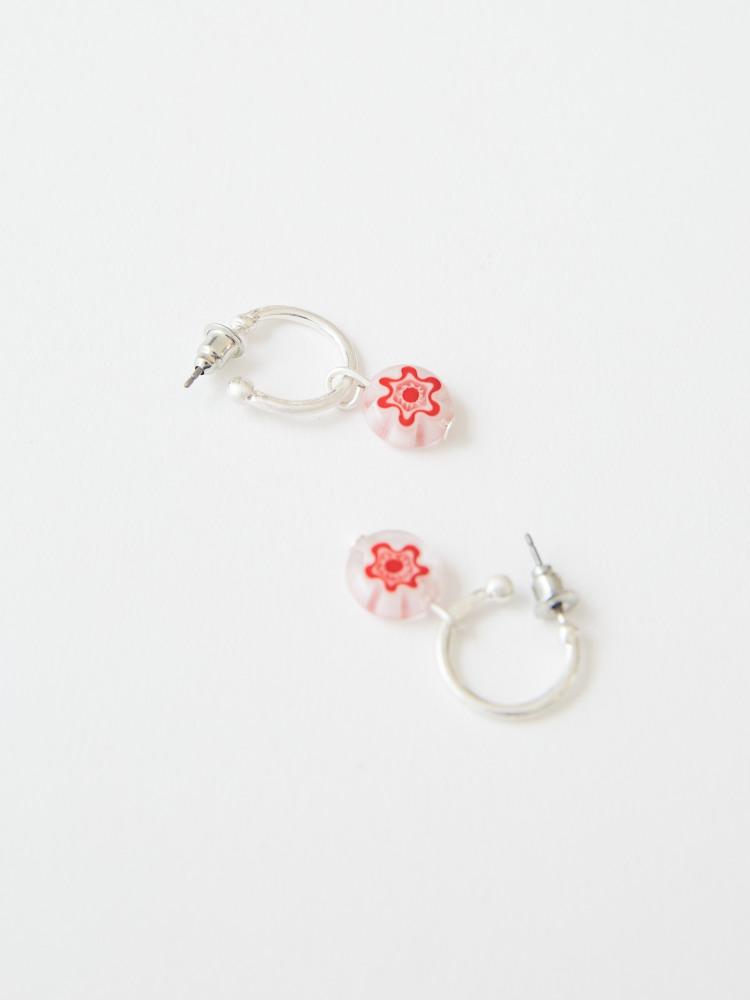 Flower Bead Hoop Earrings