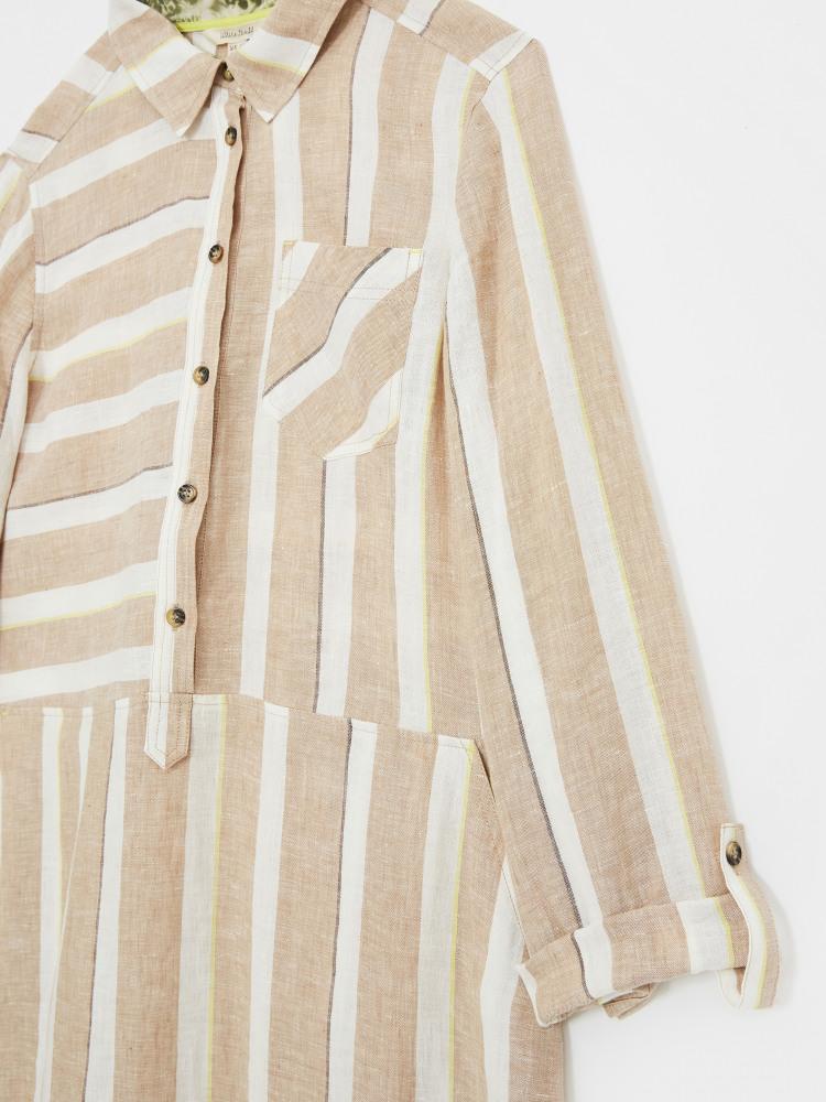 Imman Linen Stripe Shirt Dress