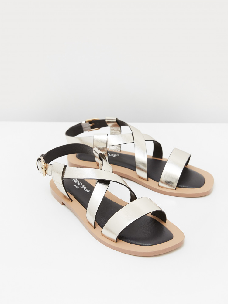 Crossover Leather Flat Sandal