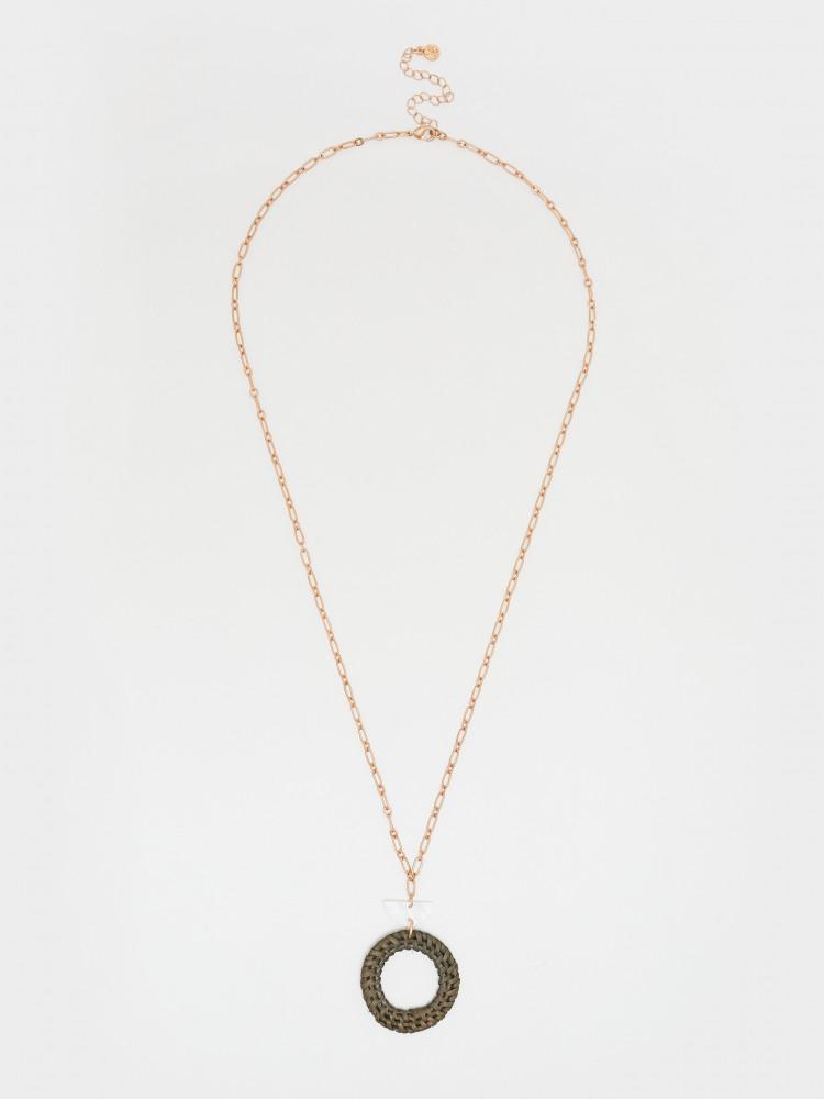 Wicker Circle Pendant Necklace