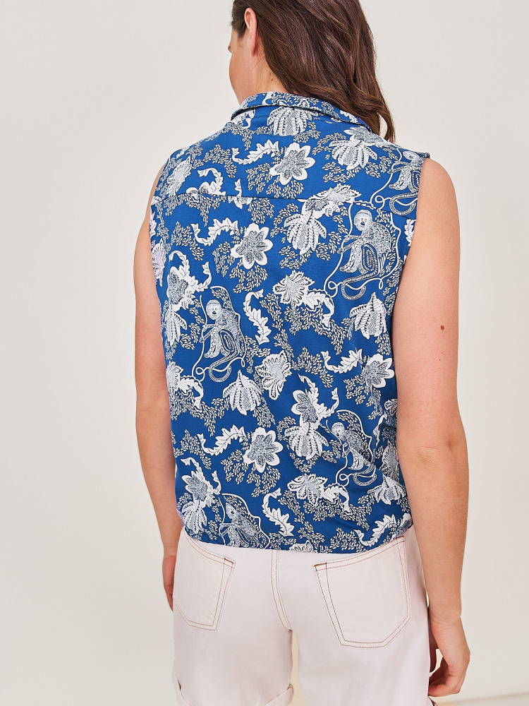 Flowing Grasses Printed Jersey Shirt