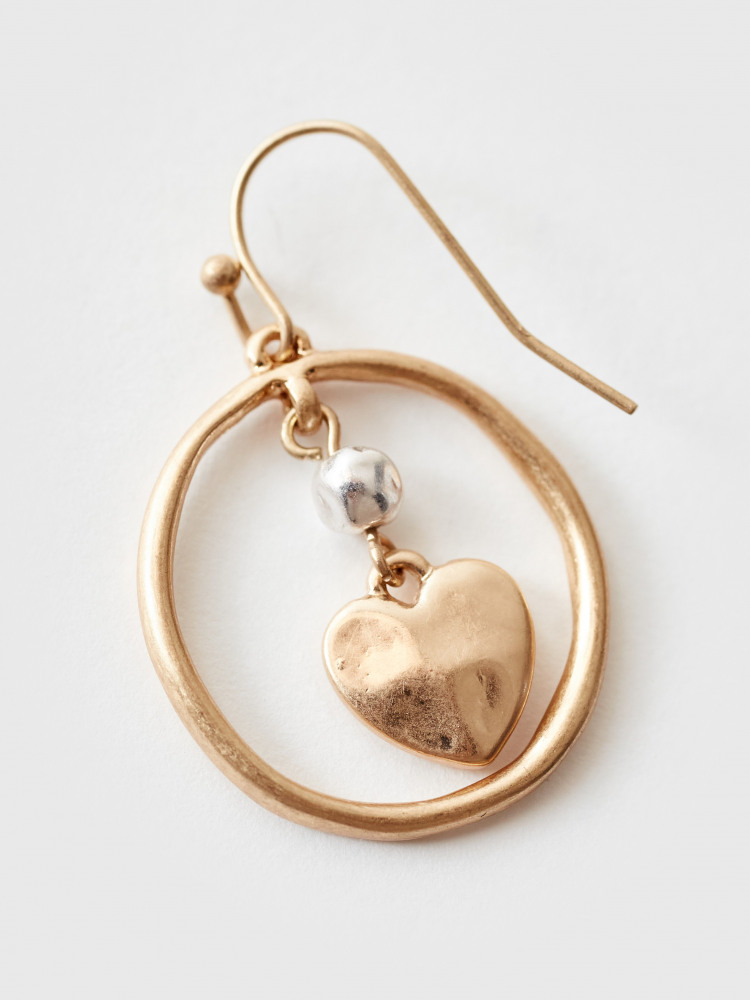 Heart In Hoop Drop Earrings