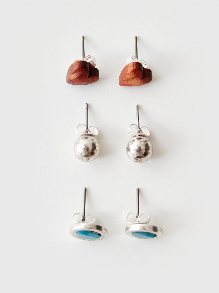 3 Pack Metal & Wood Stud Earrings