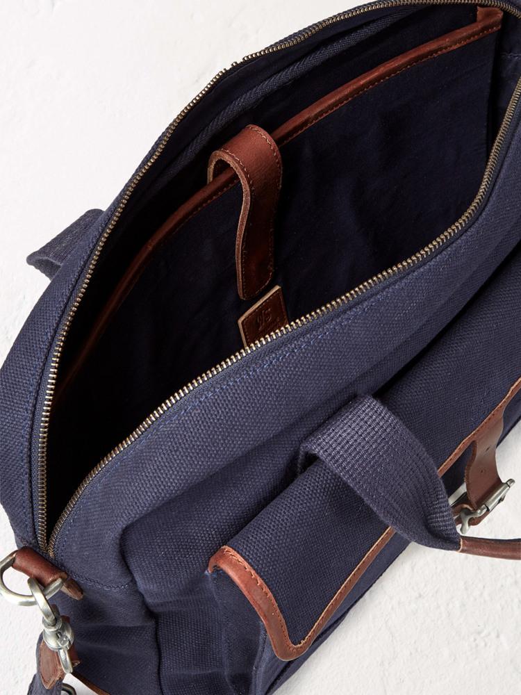 Larry Navy Canvas Laptop Bag