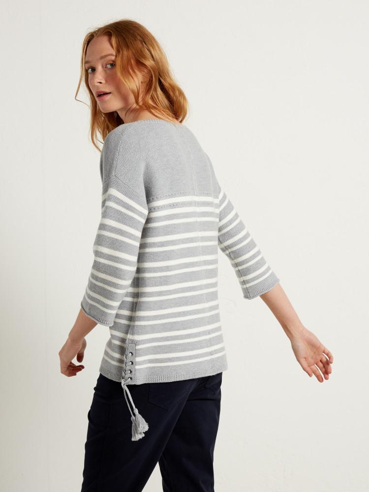 Cliff Stripe Jumper (Silver Grey Stripe) | White Stuff