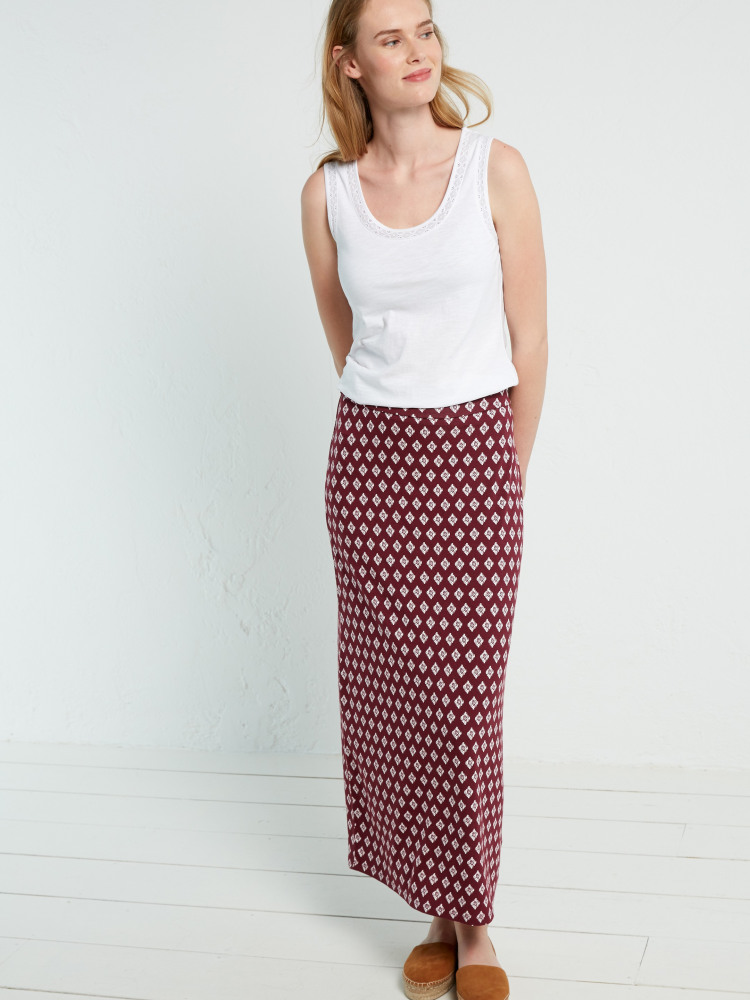 9e0ea00961 Tribal Jersey Maxi Skirt (Desert Red Print)