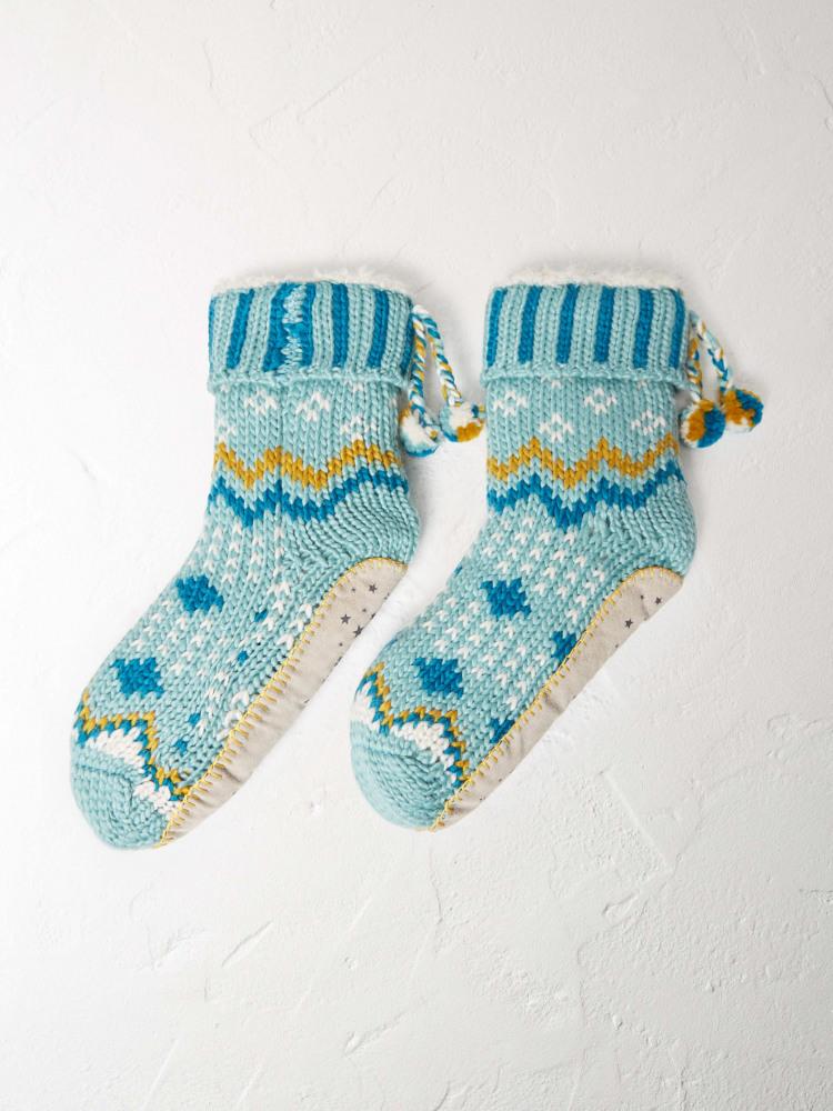 Clara Fairisle Slipper Sock GREEN