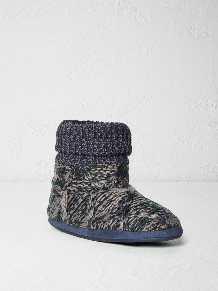 Mens Cable Slipper Bootie NAVY