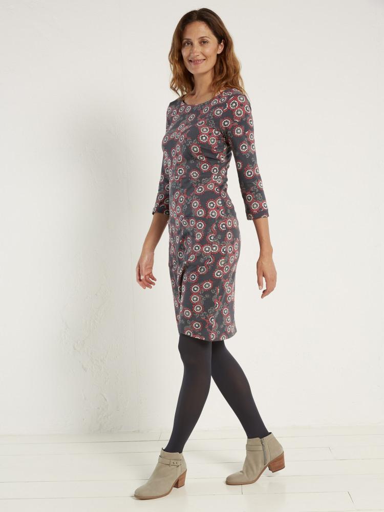 d3b61e48a27 Lindy Jersey Dress (Smoky Grey Print) | White Stuff