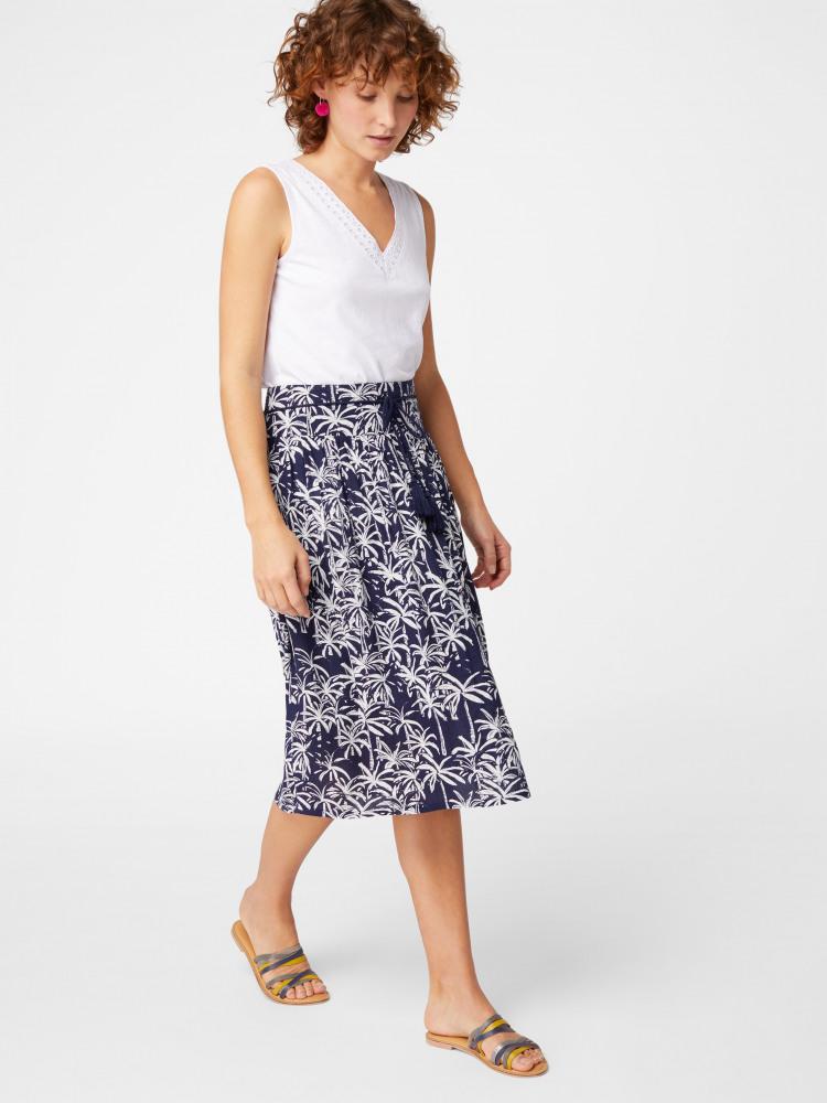 Palm Print Crinkle Skirt