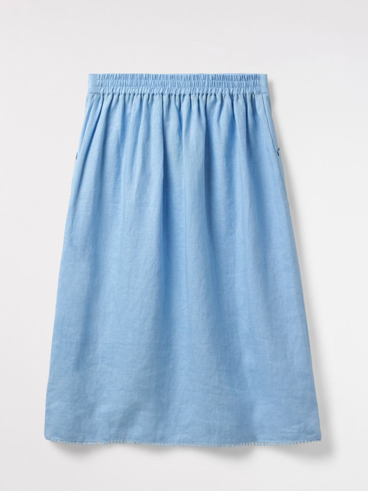 15c2a8eee113 Portia Plain Linen Skirt (Pale Blue) | White Stuff