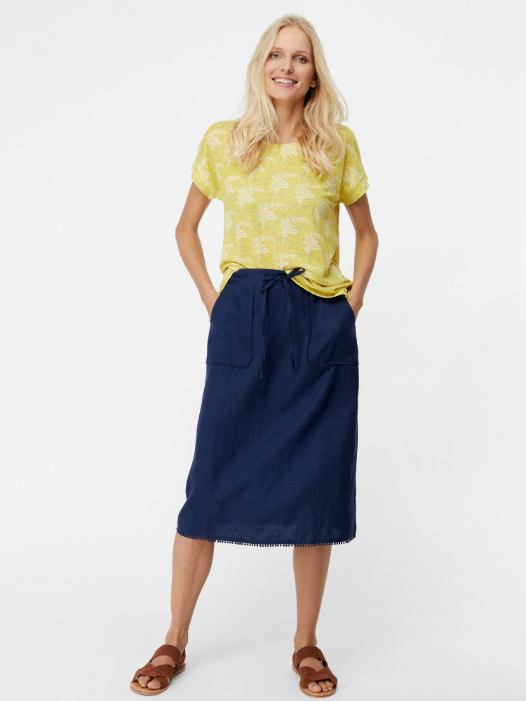 5149e58e73b0 Portia Plain Linen Skirt (Enso Blue Plain) | White Stuff