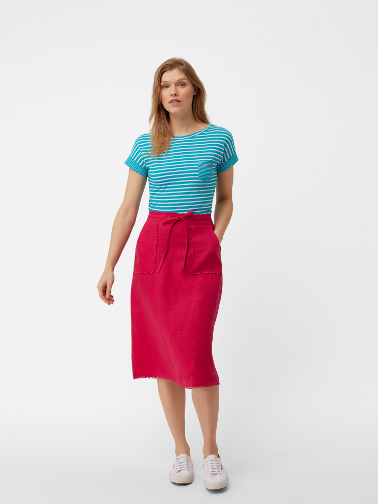 2f3ed122ba98 Portia Plain Linen Skirt (Raspberry Pink Plain) | White Stuff