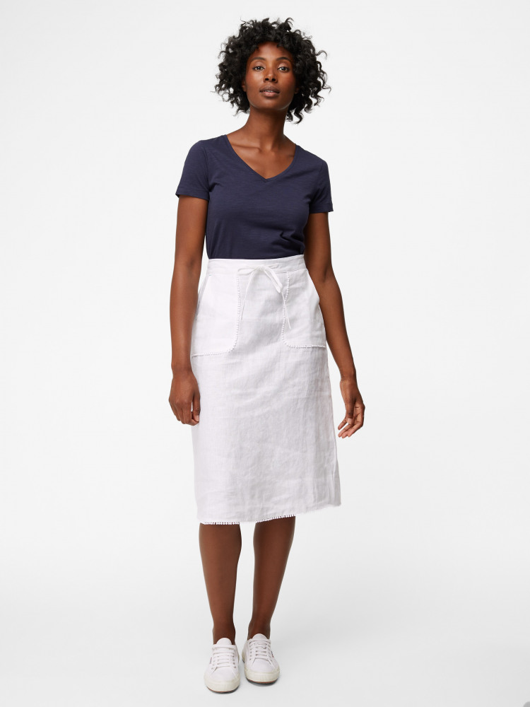 73798118322d Portia Plain Linen Skirt (White) | White Stuff