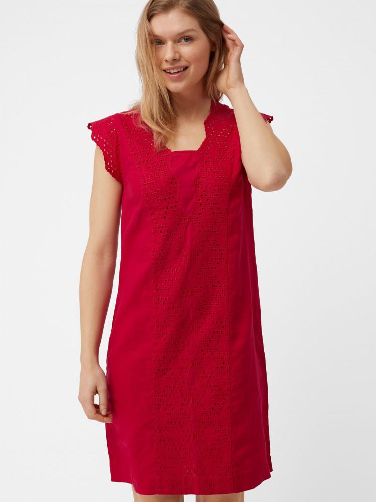 680e32fd17d5 Lily Linen Dress (Spicy Pink Plain)