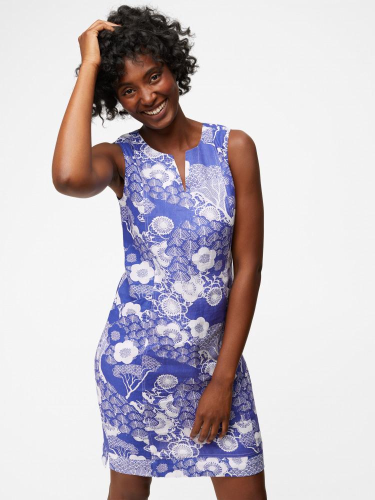 Marina Linen Print Dress