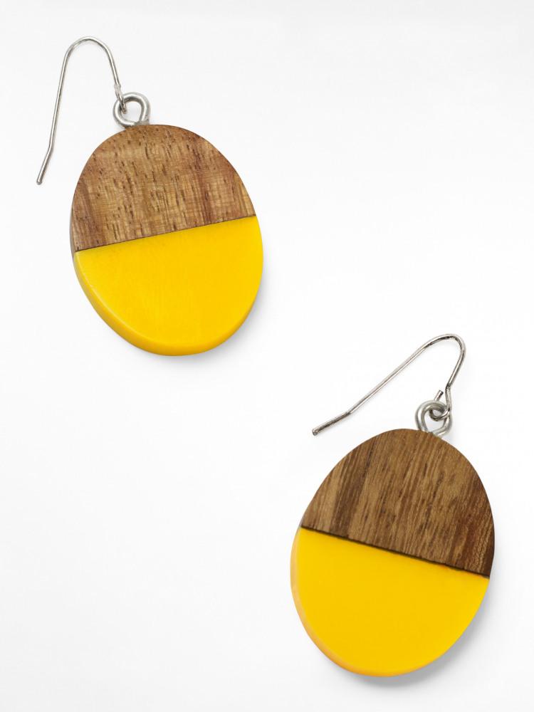 Wood & Resin Drop Earring
