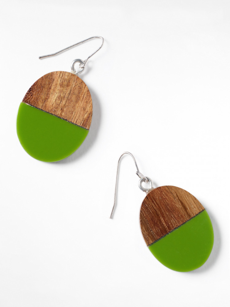 Wood & Resin Drop Earring