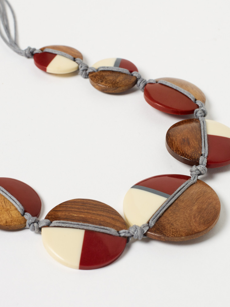 Wood & Resin Disc Necklace