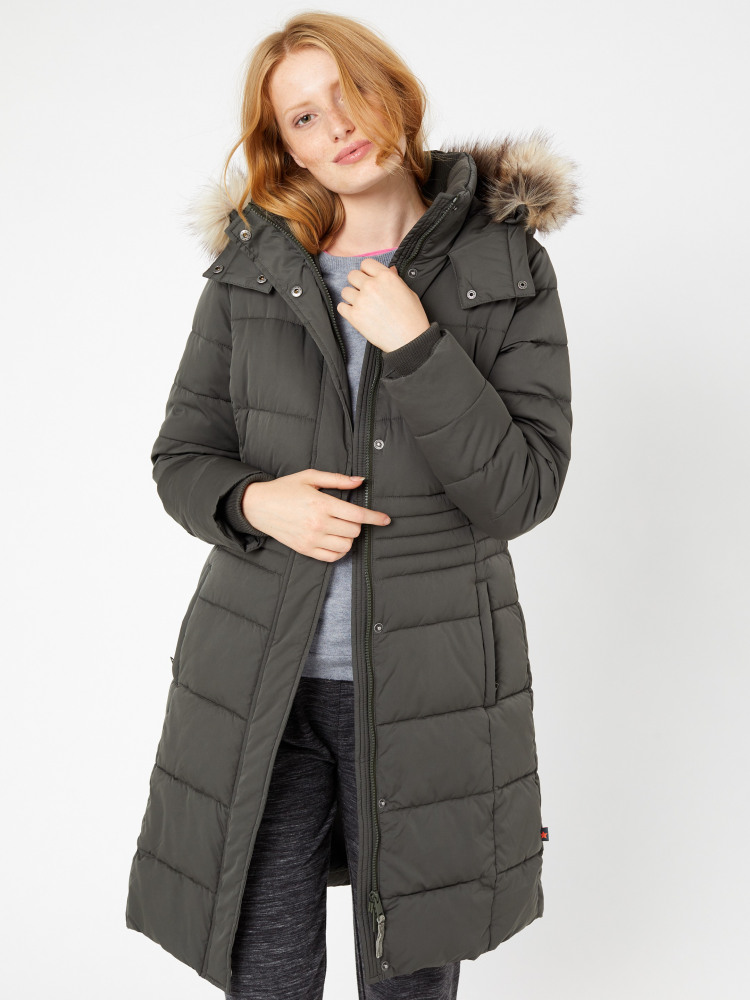 b8c2eae2365 Thirlmere Long Padded Coat (Khaki) | White Stuff