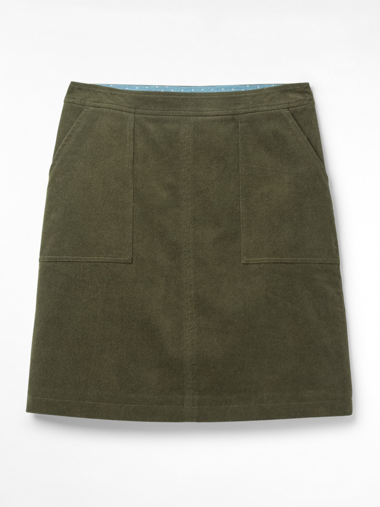 Clocktower Cord A Line Skirt