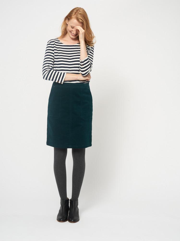 893f16fdda16 Clocktower Green Cord A Line Skirt | White Stuff