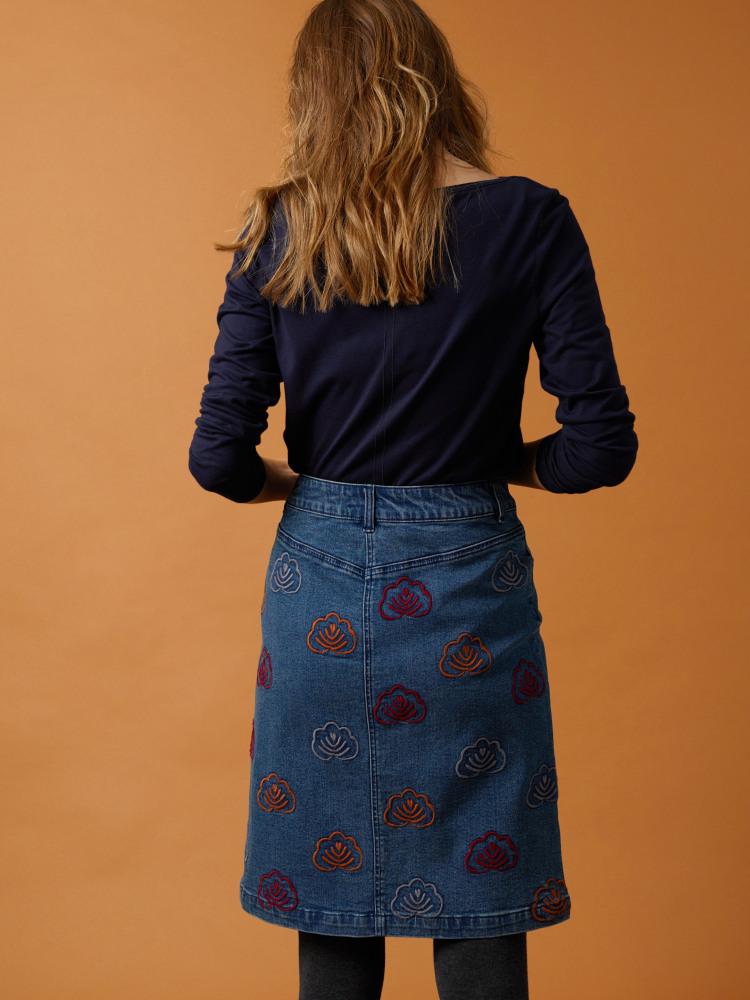 Quincy Denim Emb Skirt
