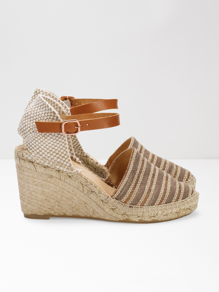 Stripe Espadrille Wedge