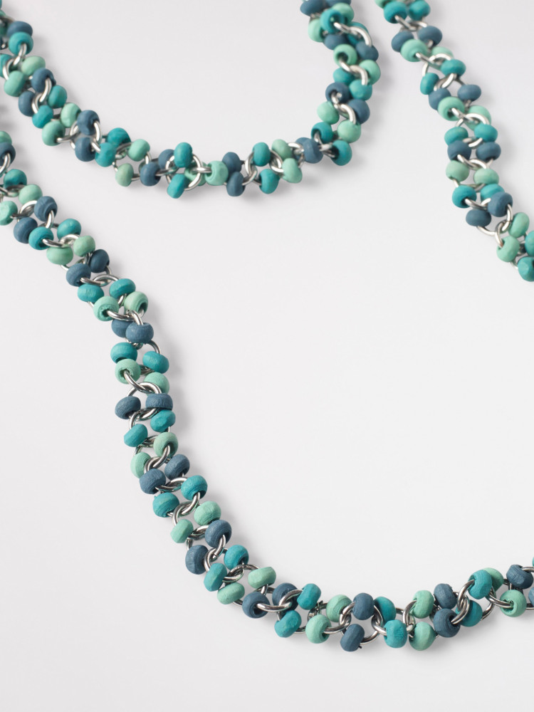 Two Tone Mossy Bead Necklace