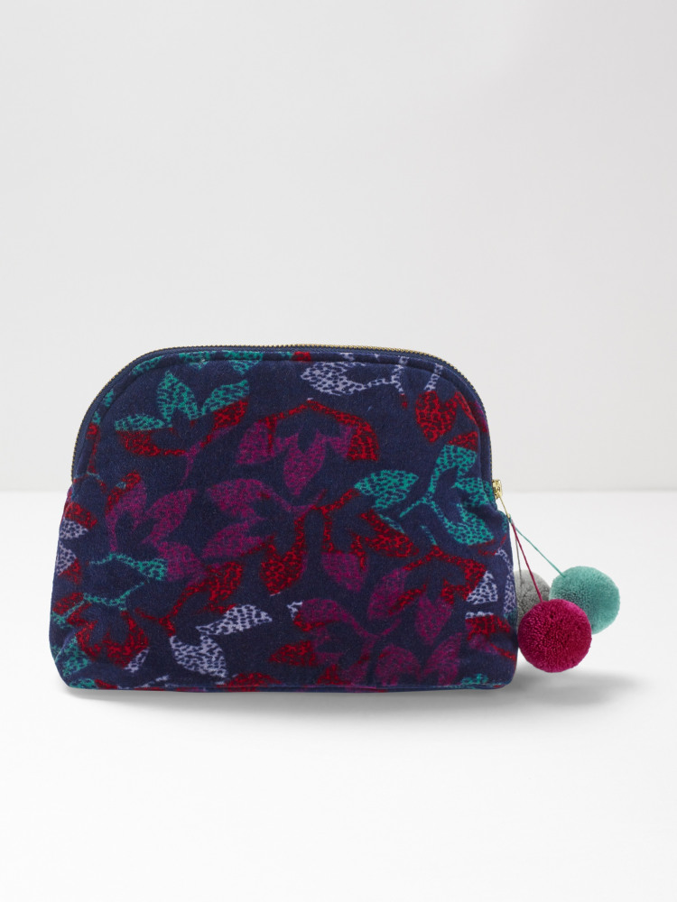 Night Leaf Velvet Makeup Bag