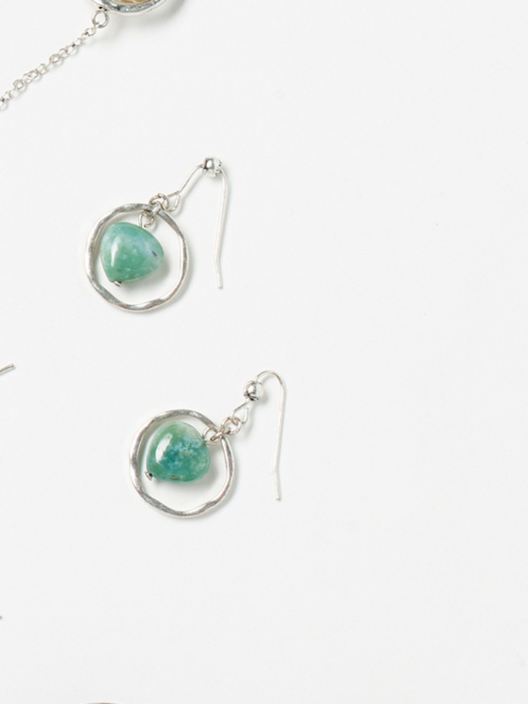 Stone Hoop Drop Earring