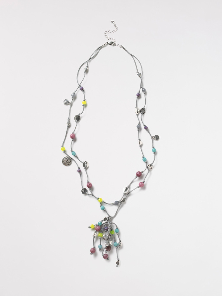Heart Cluster Lariat Necklace